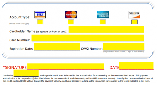 credit card payment form pdf