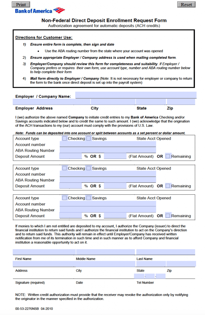 Free Bank of America Direct Deposit Authorization Form - PDF