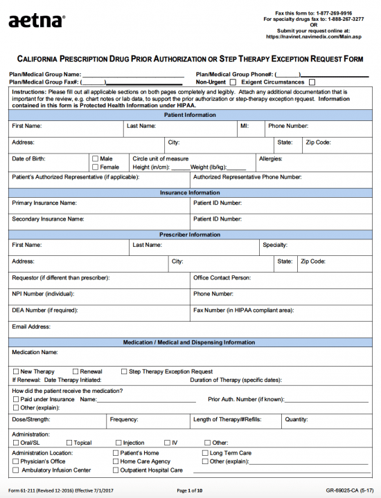 AETNA California Prior Prescription Authorization Form