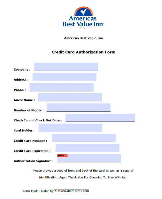 Americau0027s Best Value Inn Credit Card Authorization Form