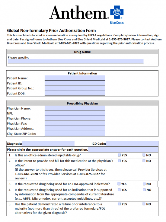 Anthem Prior Prescription Authorization Form