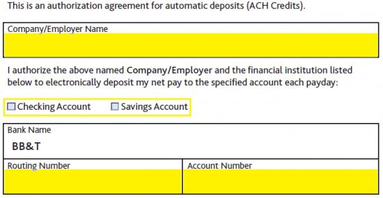 Free BB&T Bank Direct Deposit Authorization Form - PDF