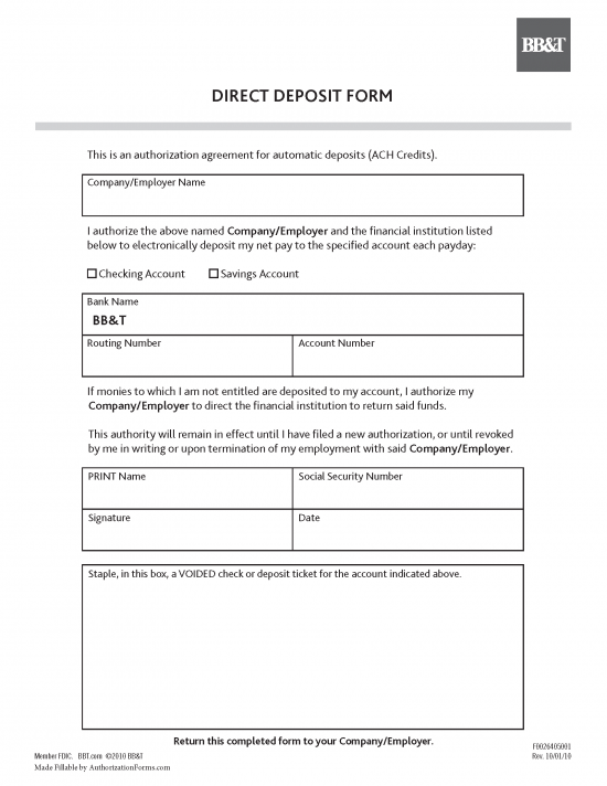 direct deposit form employer  BB&T Bank Direct Deposit Authorization Form | Authorization ...