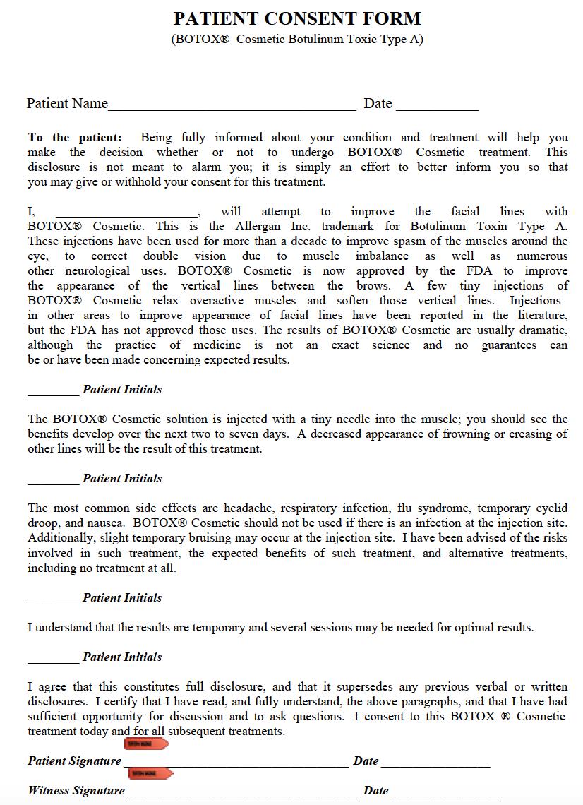 free botox patient authorization consent form