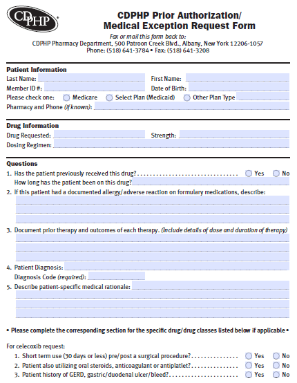 Free CDPHP Prior Prescription (Rx) Authorization Form - PDF
