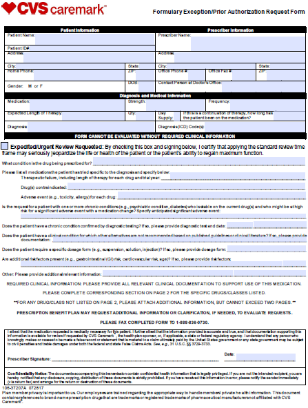 Free CVS Prior Prescription (Rx) Authorization Form - PDF