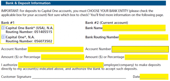 Free Capital One 360 Direct Deposit Authorization Form Pdf