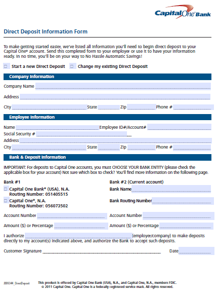 Capital One 360 Direct Deposit Authorization Form