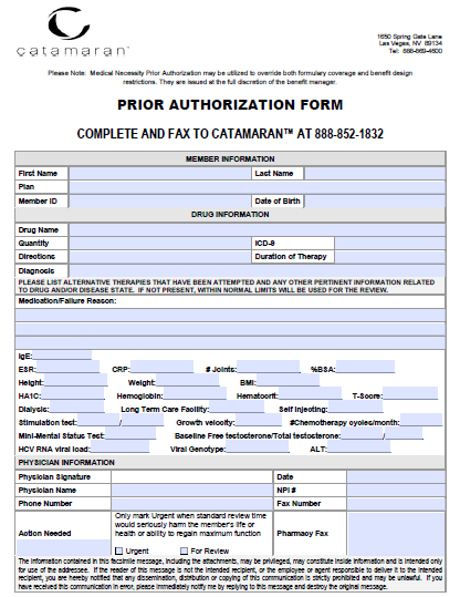 catamaran prior authorization form Free Catamaran Prior Prescription (Rx) Authorization Form - PDF