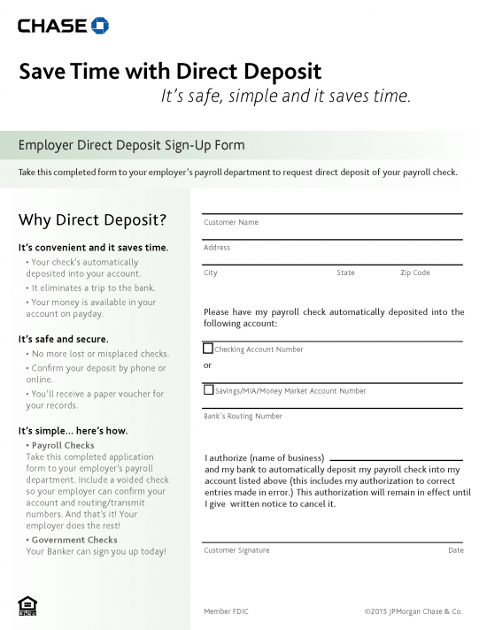 Free Chase Bank Direct Deposit Authorization Form - PDF