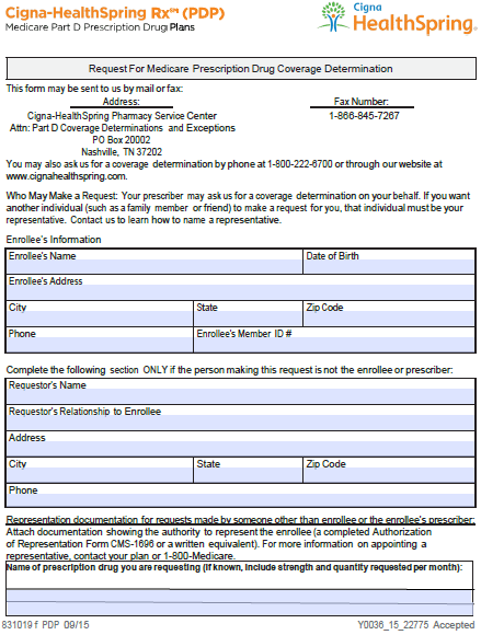 free cigna healthspring prior prescription (rx) authorization form - pdf