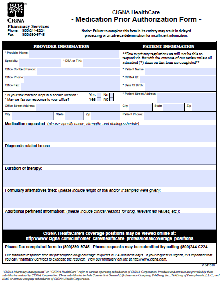 free cigna prior prescription (rx) authorization form - pdf