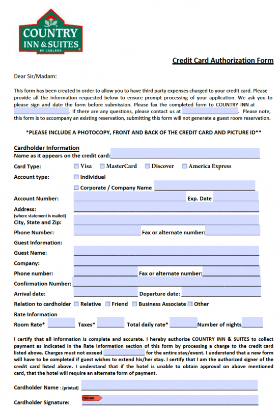 country inn and suites credit card authorization form