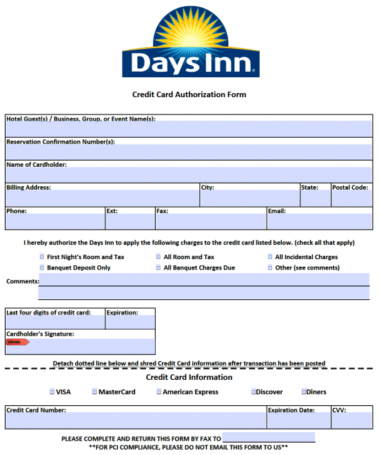 Days Inn Credit Card Authorization Form