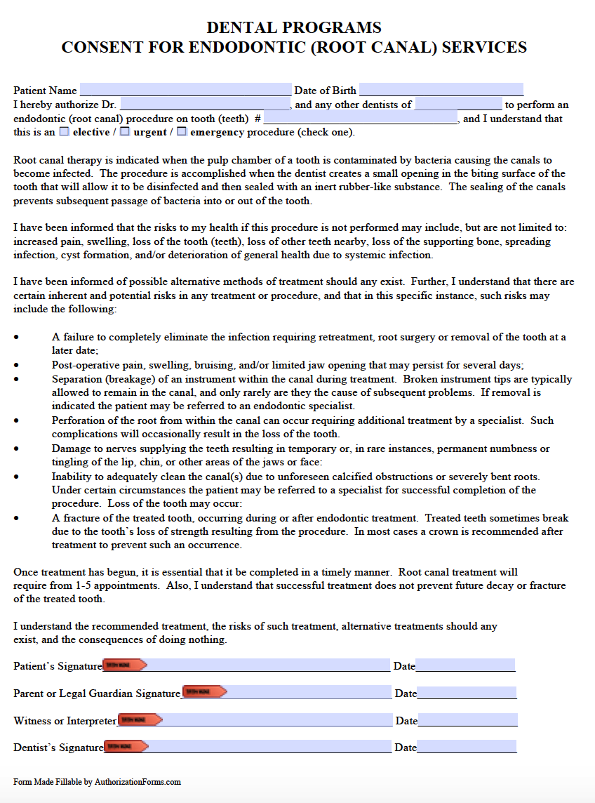 Free Dental Patient Consent Form - PDF - Word