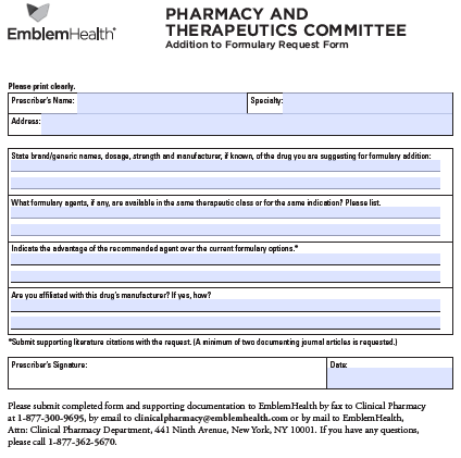 free emblem health prior prescription (rx) authorization form - pdf