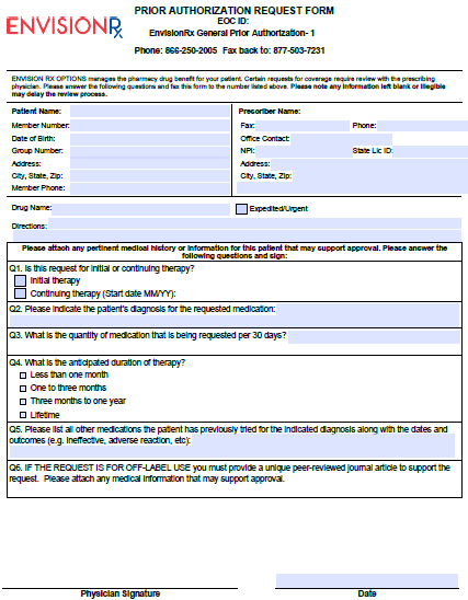 Free EnvisionRX Prior Prescription (Rx) Authorization Form - PDF