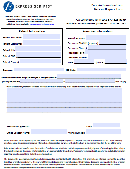 Free Express Scripts Prior Prescription Rx Authorization Form Pdf