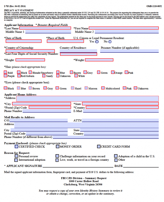 FBI Background Check Authorization Form U2013 I 783