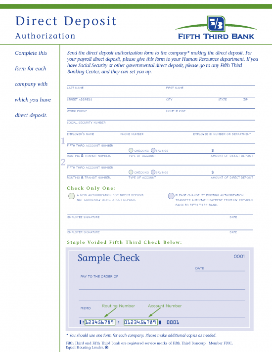 Free Fifth Third (5/3) Bank Direct Deposit Authorization Form - PDF