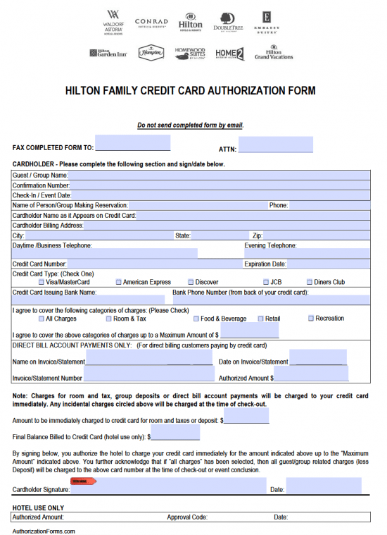 Free Hilton Credit Card Authorization Form Pdf