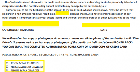 Free Howard Johnson Hotel Credit Card Authorization Form - PDF