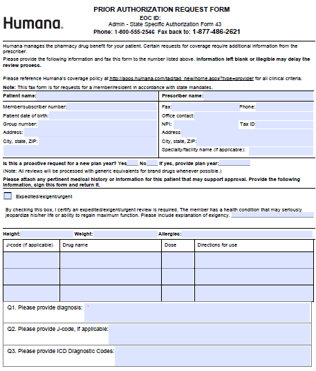 humana prior authorization pdf Free Humana Prior Prescription (Rx) Authorization Form - PDF