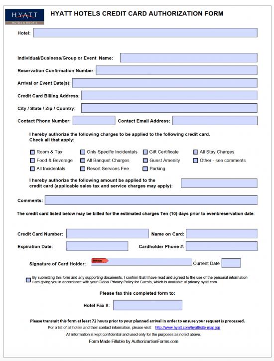 Free Hyatt Hotel Credit Card Authorization Form - PDF