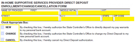 In-Home Supportive Services (IHSS) Direct Deposit Form