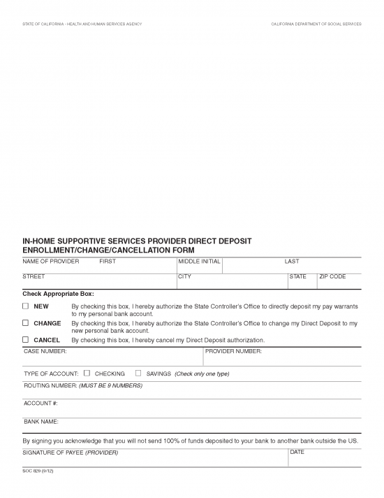In Home Supportive Services IHSS Direct Deposit Form