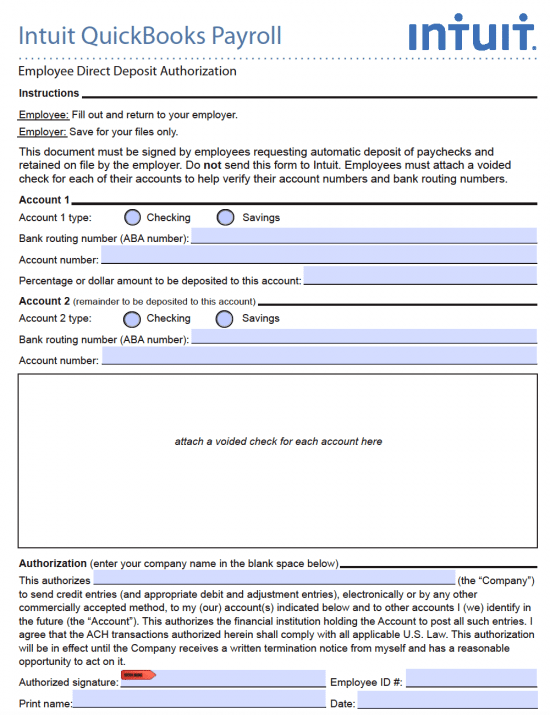 Employer Direct Deposit Form