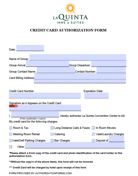la quinta hotel credit card authorization form