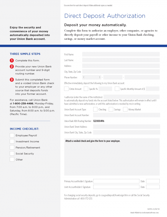 Free MUFG Union Bank Direct Deposit Authorization Form - PDF