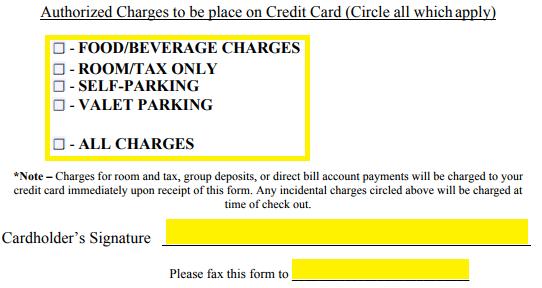 Free Marriott Credit Card Authorization Form - PDF