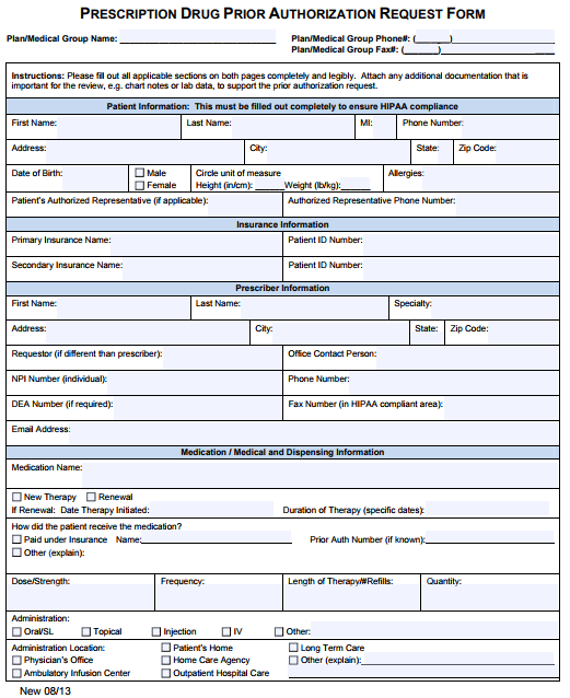 Medicaid General Prior Authorization Form