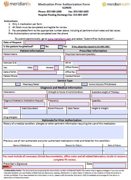 Free Meridian Prior Prescription (Rx) Authorization Form - PDF