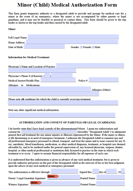 This is a picture of Mesmerizing Printable Medical Consent Form for Minor