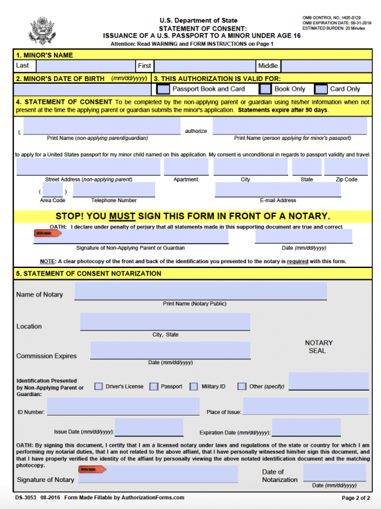 Passport Parental Consent Form DS 3053  Parental Consent Form For Passport