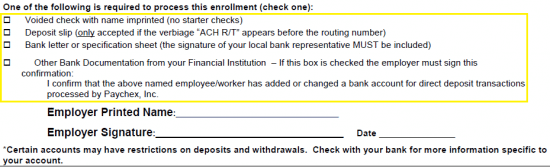 Free Paychex Direct Deposit Authorization Form - PDF
