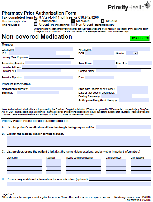 Free PriorityHealth Prior Prescription (Rx) Authorization Form - PDF
