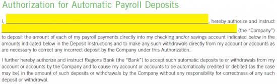 Regions Bank Direct Deposit Authorization Form