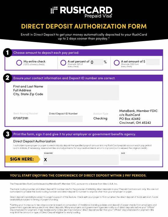 Free RushCard Direct Deposit Authorization Form - PDF