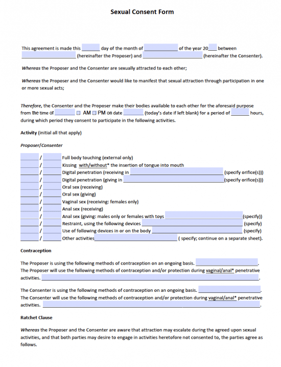 Sexual Consent Form