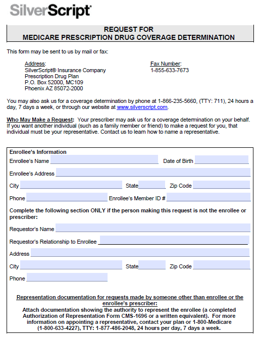 silver script prior auth form Free SilverScript Prior Prescription (Rx) Authorization Form - PDF