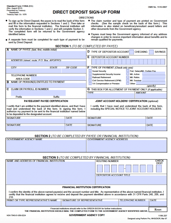 Free Social Security Direct Deposit Authorization Form 1199A - PDF