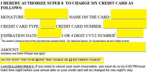 Free Super 8 Motel Credit Card Authorization Form - PDF