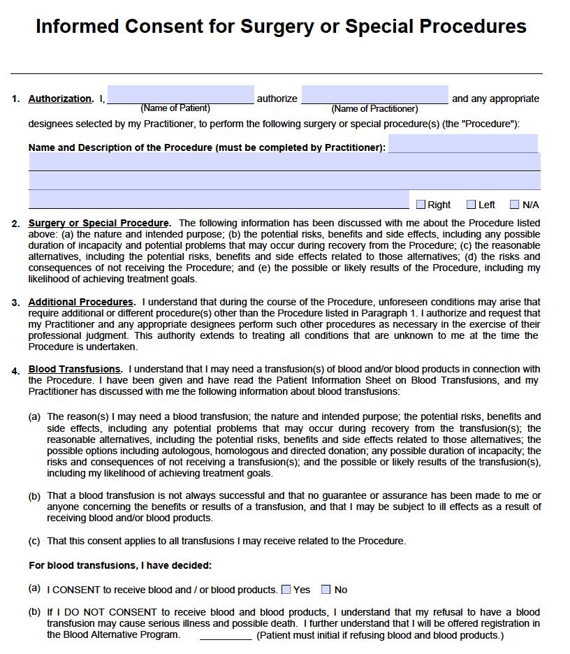 Free Surgery Consent Form - PDF