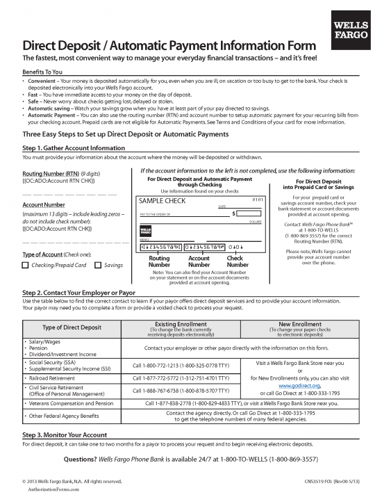 Free Wells Fargo Direct Deposit Authorization Form - PDF