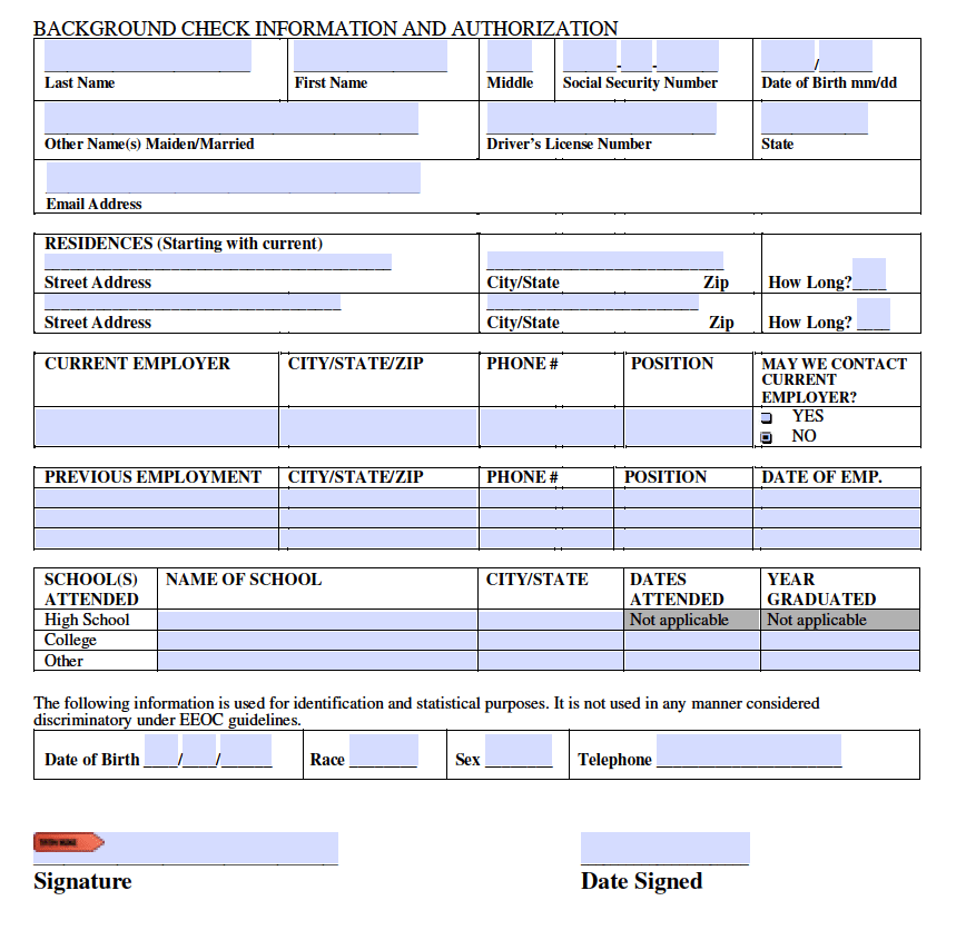 Free Background Check Authorization Template Form - PDF