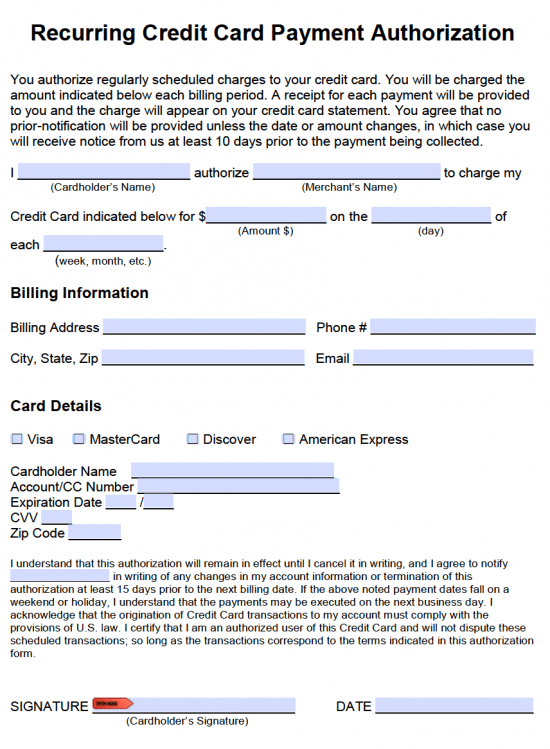 Recurring Credit Card Payment Authorization Form